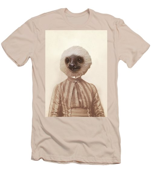 Vintage Sloth Girl Portrait Men's T-Shirt (Slim Fit) by Brooke T Ryan