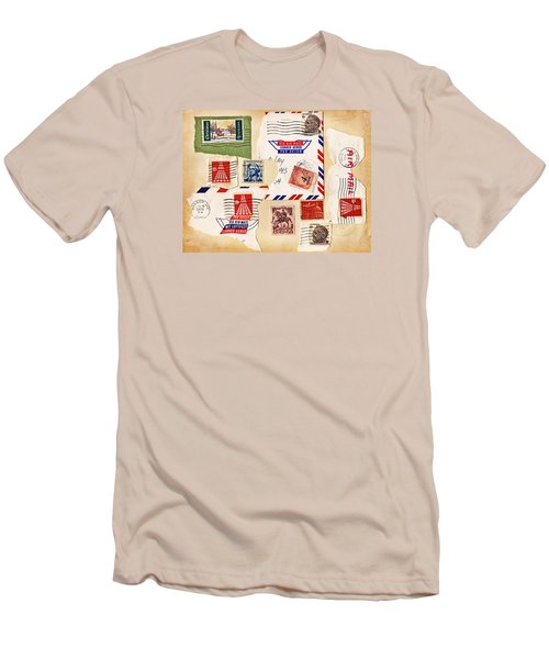 Men's T-Shirt (Slim Fit) featuring the photograph Vintage Stamps On Old Postcard by Vizual Studio