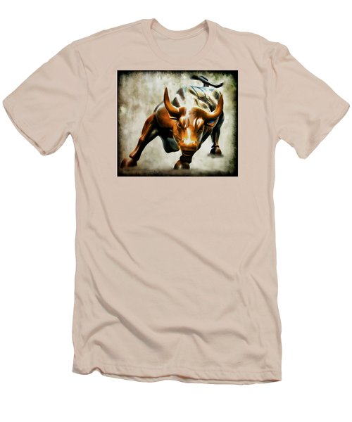 Wall Street Bull Men's T-Shirt (Slim Fit) by Athena Mckinzie