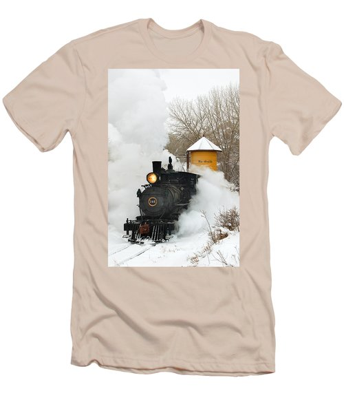 Water Tower Behind The Steam Men's T-Shirt (Athletic Fit)