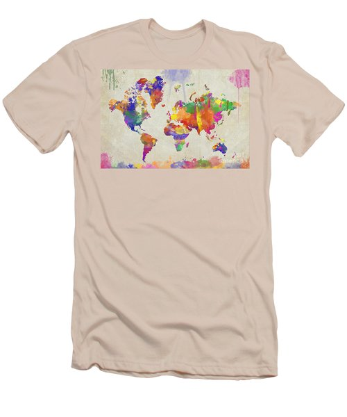 Watercolor Impression World Map Men's T-Shirt (Athletic Fit)