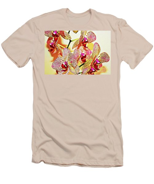 Men's T-Shirt (Slim Fit) featuring the photograph Watercolor Orchid Shadows by Judy Palkimas