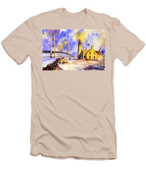 Watercolor Painting Of Ligthouse On Mackinaw Island- Michigan Men's T-Shirt (Athletic Fit)