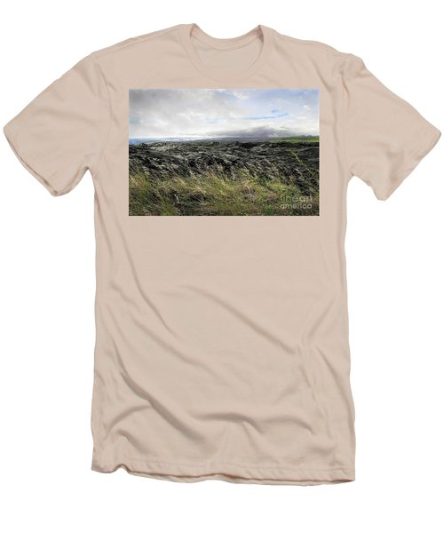 Men's T-Shirt (Slim Fit) featuring the photograph Waves Of Clouds Sea Lava And Grass by Ellen Cotton