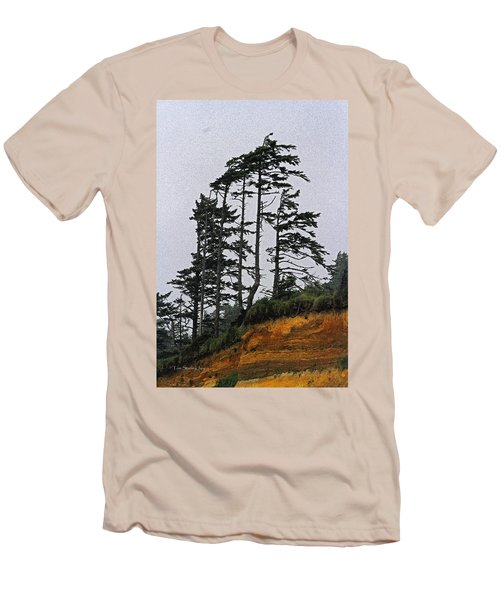 Weathered Fir Tree Above The Ocean Men's T-Shirt (Slim Fit) by Tom Janca