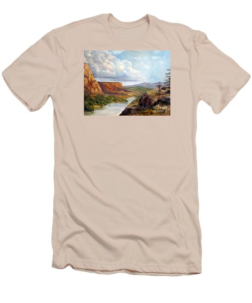 Western River Canyon Men's T-Shirt (Slim Fit) by Lee Piper