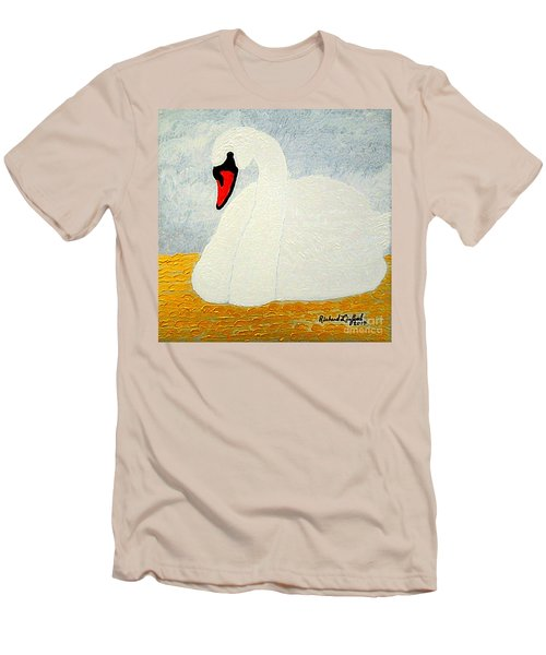 White Swan Lake Men's T-Shirt (Slim Fit) by Richard W Linford