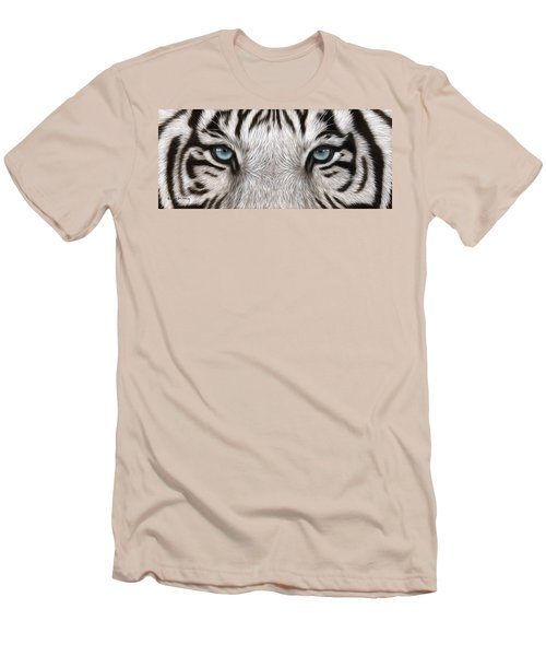 White Tiger Eyes Painting Men's T-Shirt (Athletic Fit)
