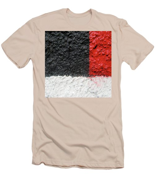 White Versus Black Over Red Men's T-Shirt (Slim Fit) by CML Brown
