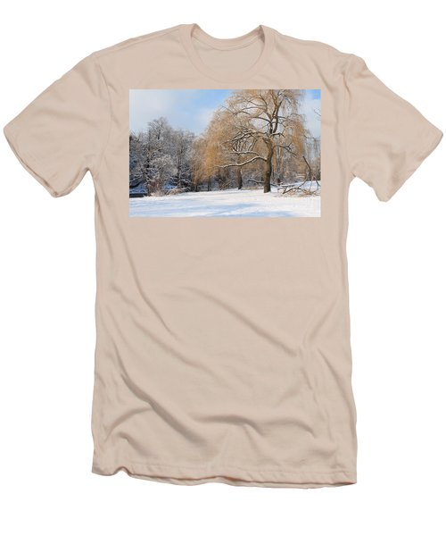 Winter Along The River Men's T-Shirt (Slim Fit) by Nina Silver