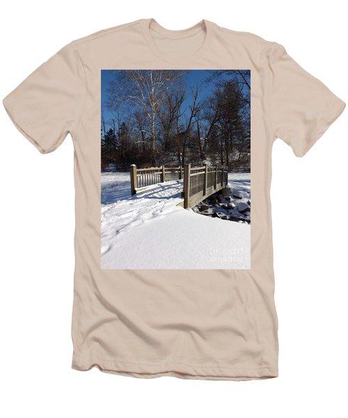 Winter At Creekside Men's T-Shirt (Slim Fit) by Sara  Raber