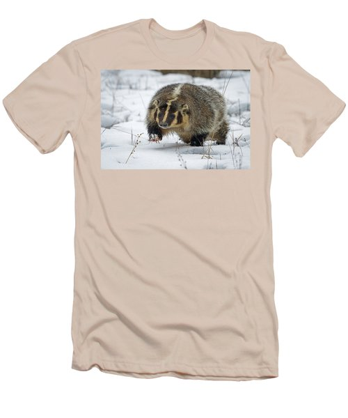 Men's T-Shirt (Slim Fit) featuring the photograph Winter Badger by Jack Bell