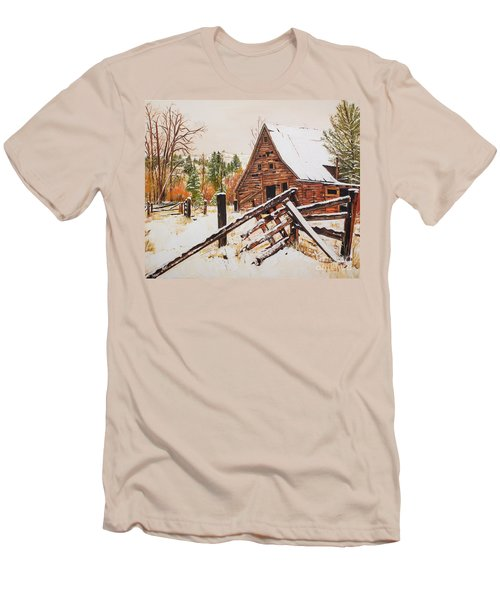 Men's T-Shirt (Athletic Fit) featuring the painting Winter - Barn - Snow In Nevada by Jan Dappen