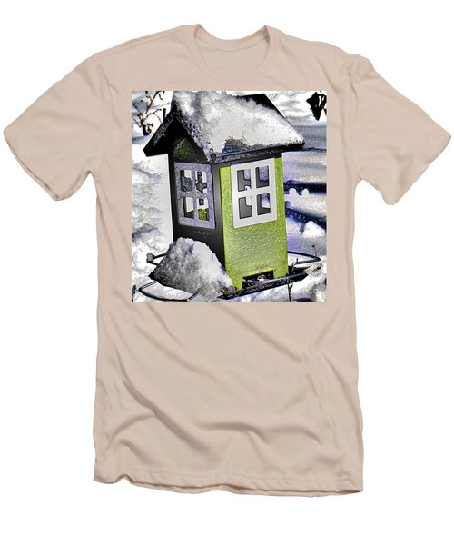 Men's T-Shirt (Slim Fit) featuring the photograph Winter Birdfeeder by Nina Silver
