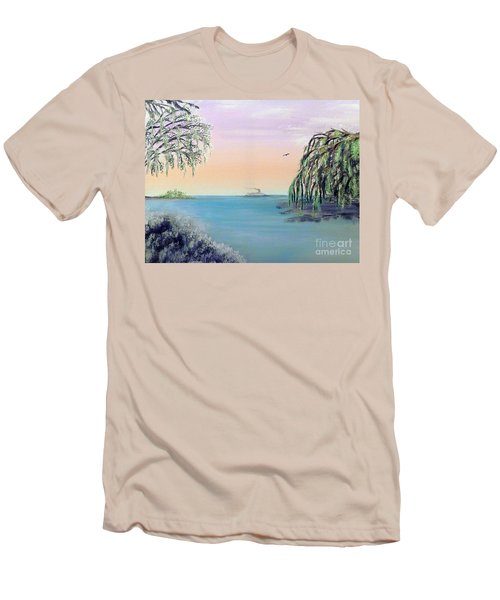 Winter On Lake Ponchartrain Men's T-Shirt (Slim Fit) by Alys Caviness-Gober