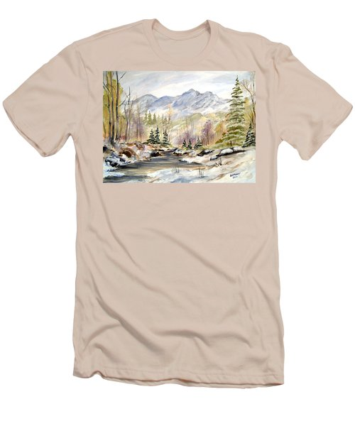 Winter On The River Men's T-Shirt (Slim Fit) by Dorothy Maier