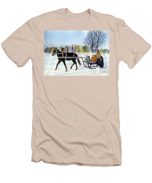 Men's T-Shirt (Slim Fit) featuring the painting Winter Sleigh Ride by Carol Flagg