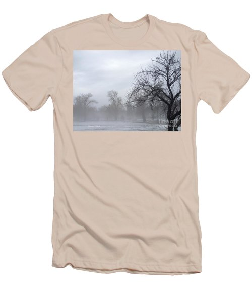 Men's T-Shirt (Slim Fit) featuring the photograph Winter Trees With Mist by Jeannie Rhode