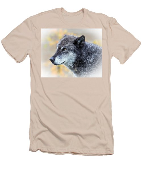 Men's T-Shirt (Slim Fit) featuring the photograph Wolf by Steve McKinzie