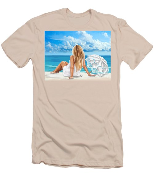 Woman At The Beach Men's T-Shirt (Slim Fit)