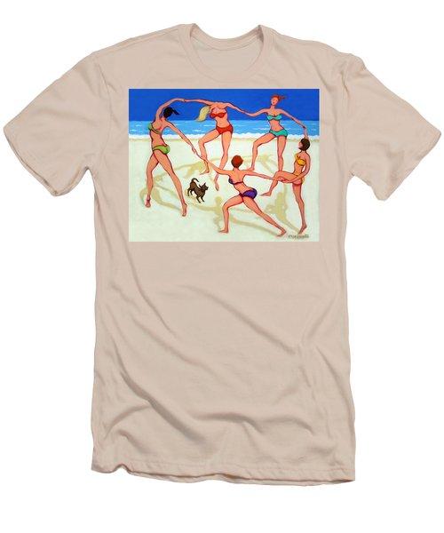 Women Dancing On Beach - Happy Dance Men's T-Shirt (Slim Fit) by Rebecca Korpita