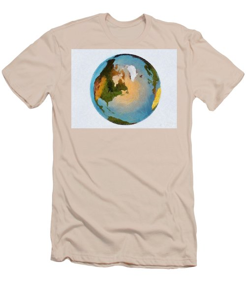 Men's T-Shirt (Slim Fit) featuring the painting World 3d Globe by Georgi Dimitrov