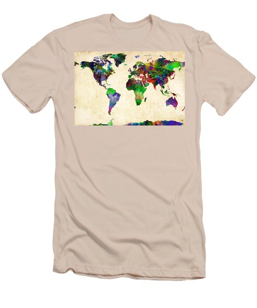 World Map Watercolor Men's T-Shirt (Athletic Fit)