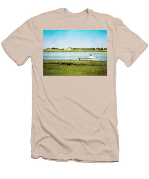 Men's T-Shirt (Slim Fit) featuring the photograph Yarmouth Port Fishing Boat In Green And Blue by Brooke T Ryan
