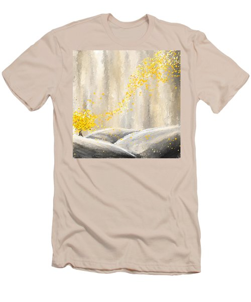 Yellow And Gray Landscape Men's T-Shirt (Athletic Fit)