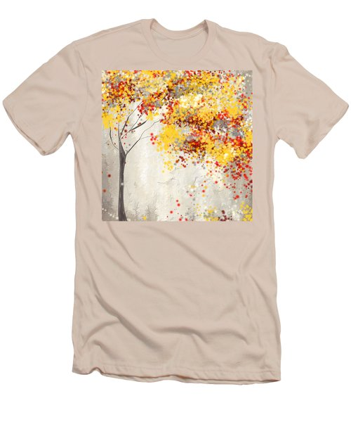 Yellow Gray And Red Men's T-Shirt (Athletic Fit)