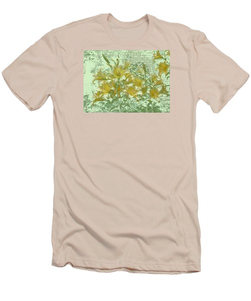 Men's T-Shirt (Slim Fit) featuring the photograph Yellow Stargazers On Soft Green by Tom Wurl