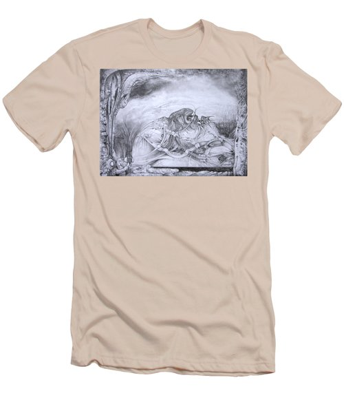 Men's T-Shirt (Slim Fit) featuring the drawing Ymir At Rest by Otto Rapp