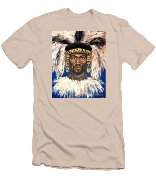 Men's T-Shirt (Slim Fit) featuring the painting Zulu Warrior by Arturas Slapsys