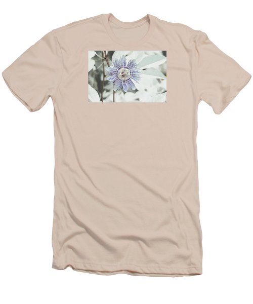 Passion Flower On White Men's T-Shirt (Slim Fit) by Tom Wurl