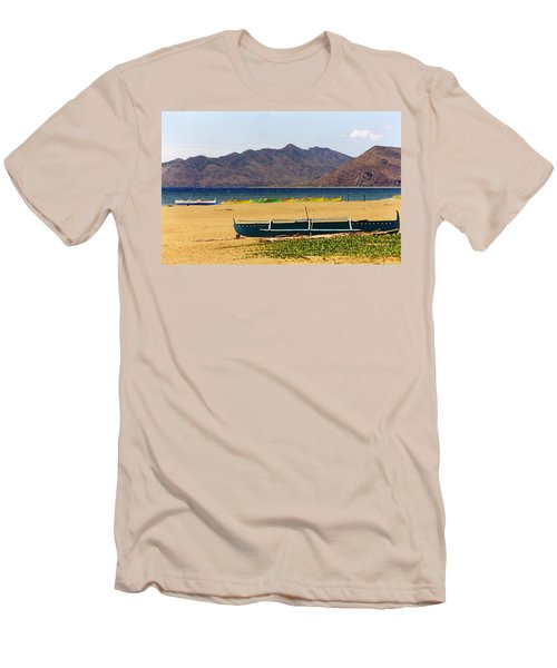 Boats On South China Sea Beach Men's T-Shirt (Slim Fit) by Amelia Racca