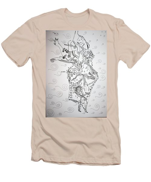Men's T-Shirt (Slim Fit) featuring the drawing Kiganda Dance - Uganda by Gloria Ssali