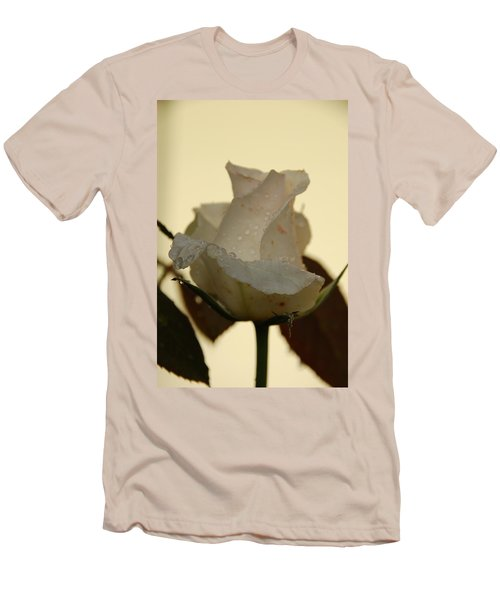 A Single White Rose Men's T-Shirt (Slim Fit) by Randy J Heath