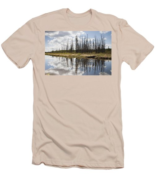 Men's T-Shirt (Slim Fit) featuring the photograph A Tranquil River With A Reflection by Susan Dykstra