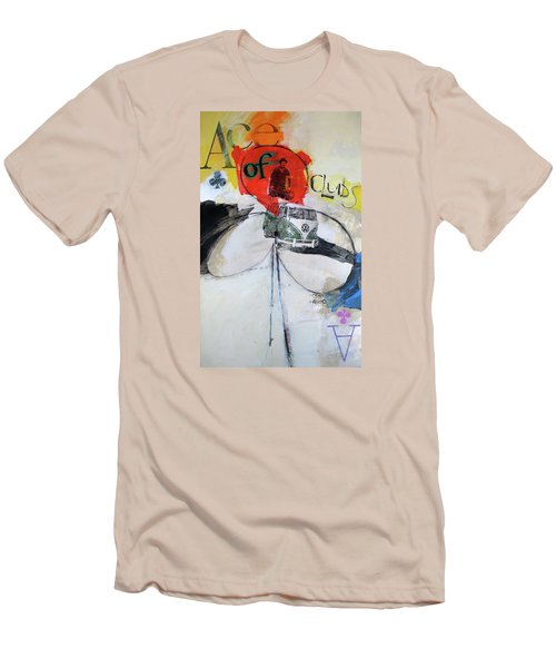 Men's T-Shirt (Slim Fit) featuring the painting Ace Of Clubs 36-52 by Cliff Spohn