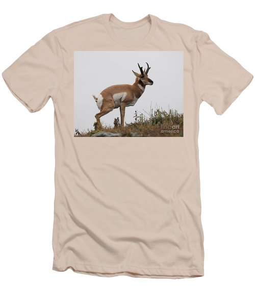 Men's T-Shirt (Slim Fit) featuring the photograph Antelope Critiques Photography by Art Whitton