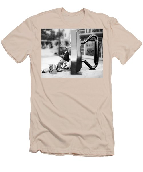 Atown Street Musician Men's T-Shirt (Slim Fit) by Gray  Artus