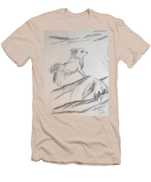 Men's T-Shirt (Slim Fit) featuring the drawing Aye Chihuahua by Maria Urso