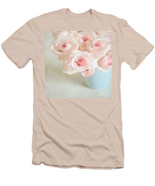 Baby Pink Roses Men's T-Shirt (Slim Fit) by Lyn Randle