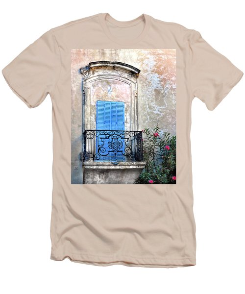 Men's T-Shirt (Slim Fit) featuring the photograph Balcony Provence France by Dave Mills