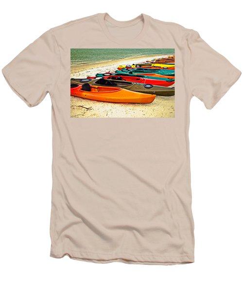 Men's T-Shirt (Slim Fit) featuring the photograph Beach Kayaks by Susan Leggett