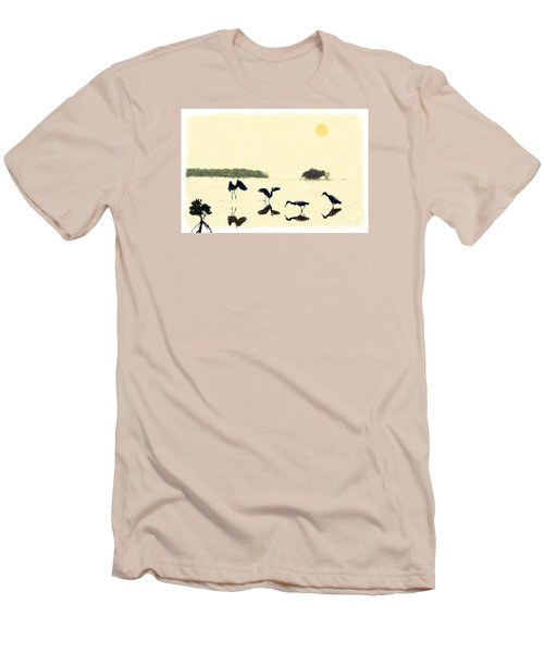 Men's T-Shirt (Slim Fit) featuring the photograph birds feeding in the Everglades by Dan Friend