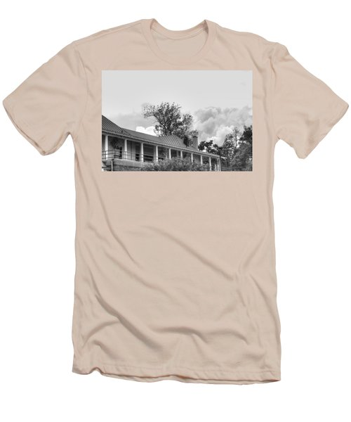 Men's T-Shirt (Slim Fit) featuring the photograph Black And White Delaware Casino by Michael Frank Jr