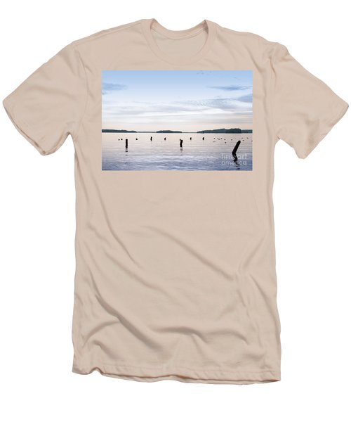 Men's T-Shirt (Slim Fit) featuring the photograph Blue Lake Muskoka by Les Palenik