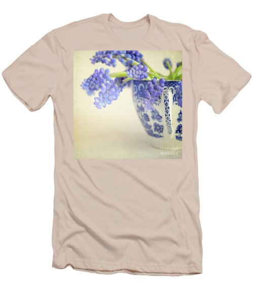 Blue Muscari Flowers In Blue And White China Cup Men's T-Shirt (Slim Fit) by Lyn Randle