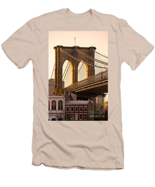 Men's T-Shirt (Slim Fit) featuring the photograph Brooklyn Bridge - New York by Luciano Mortula